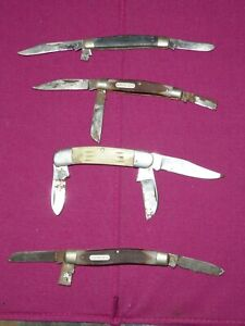 Vintage Lot 4 Knives Pocket Folding Knives 2 x Schrade Queen Other Parts Repair