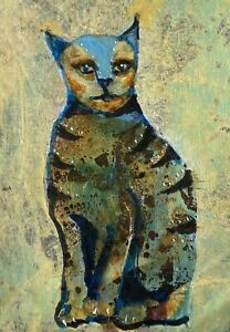 """Egyptian Cat Original ACEO Acrylic Painting by K Fuller 2.5""""x3.5"""""""