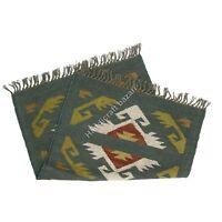 2x3' Handmade Wool Jute Carpet Dhurrie Rug Runner Vintage Sofa Side Decor Mat