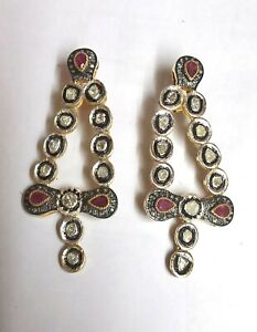 Slice Polki Pave Diamond Ruby 925 Sterling Silver Drop Dangle Handmade Earring