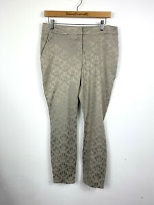 Wallis Trousers UK 12 Stone Shiny Floral Jacquard Cigarette Party Work Office