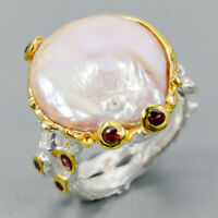Baroque Pearl Ring Silver 925 Sterling Handmade Size 8 /R128519