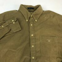 GANT Mini Corduroy Button Up Shirt Men's Size XL Long Sleeve Greenish-Tan Casual