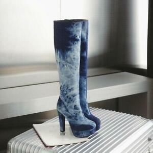 Side Zip Original Women's Knee High Boots Denim Boots Plus Size Shoes Block Heel
