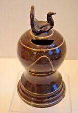 Dorothy Long Redware Pottery Bank w/ Bird ~ Slipware ~ Chester County Pa ~ 1987