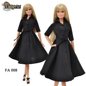 ELENPRIV FA008 black dress-shirt for Barbie Pivotal MTM FR2 Poppy Parker doll