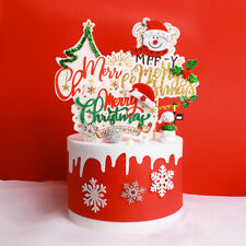 6PCS Christmas Theme Cake Toppers Party Cake Insert Cards Cake Decors