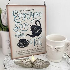 LARGE METAL VINTAGE RETRO TEA QUOTE PLAQUE SIGN WALL HANGING KITCHEN DINIING ROO