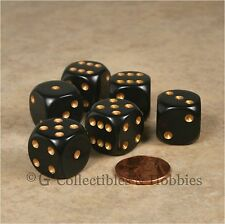 NEW 6 Black with Gold Pips ROUNDED EDGE Dice Set RPG D&D Game 16mm 5/8 inch D6