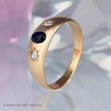 Ring in 585/- Gelbgold mit 1 Saphir und 2 Diamanten ca.0,08 ct.