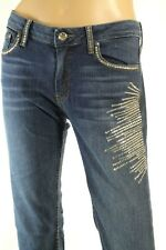 A7 Embellished Women's Skinny Jeans With Swarovski Elements Stretch Size 32