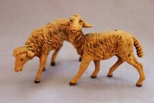 "1983 Roman Fontanini 2 Sheep 7.5"" Scale Nativity Figures Italy 3""& 3.5"" long Exc"