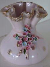 Vintage Lefton Bumpy Pink Gold Flower Vase Bow