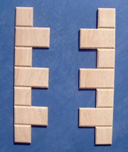 1/12 dolls house Miniature Mouldings 2x Wood QUOINING / CORNER STONES Bricks LGW