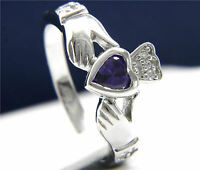 Engagement Ring New Womens Claddagh Sterling Silver 1.03 CT Heart Amethyst CZ
