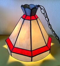 Vtg Tiffany Hanging Swag Lamp Light Chandelier Retro Stained leaded Glass Red