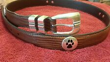 Men's Brown Leather Belt with University of New Mexico Lobos Conchos 42 R