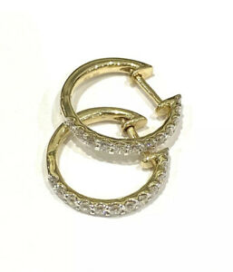 0.52ct Diamond 9ct Yellow Gold Hallmarked 15mm Claw Set Huggies/Hoop Earrings