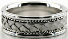 14K WHITE GOLD BRAIDED WEDDING BAND MEN TWISTED ROPE COMFORT FIT RING 7MM