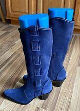 NWOT ~ VIA SPIGA Blue Suede Mid Calf Western Boots Sz 6.5 Square Toe Side Zip