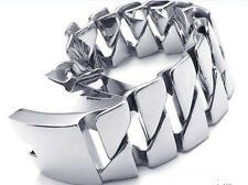 Curb Chain Bangle Silver 8.8''x 31mm 316L Stainless Steel Men's Bracelet Heavy
