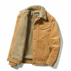 Men's Retro Corduroy Sherpa Trrucker Jacket Fur Fleece Lined Classic Coat XS-4XL