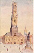 B93358 bruges le beffroi  painting  belgium  postcard