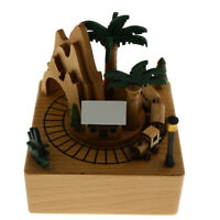 Wooden Music Box Forest Train Design Music Decoration Ornament Craft