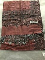 Paisley Pashmina Shawl Double Layer Reversible Wrap Scarf 45% silk