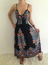 Women Sleeveless Boho Gypsy Crossover Summer Maxi Casual Dress Size 8,10,12 NEW