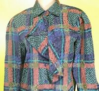Vintage Louis Feraud 100% polyester Geometric-Print high-neck Blouse Top size 6