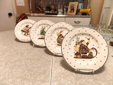 "FULL SET of (4) SAKURA by DEBBIE MUMM ""SLEDDING CHARACTERS"" LUNCH / SALAD PLATES"