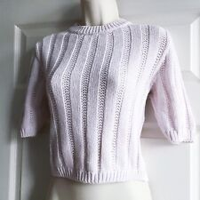 Vintage Size 10 Pale Pink St Michaels Cotton Knitted Short Sleeved Top M&S