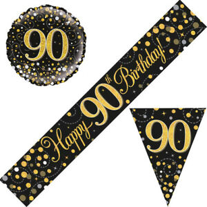 90th Birthday Party Decorations Flag Buntings Balloons Banners Black Gold Age 90