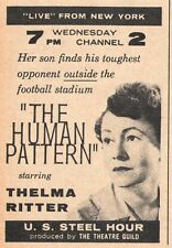 1957 Tv Ad~THELMA RITTER in THE HUMAN PATTERN~U.S. STELL HOUR~THE THEATRE GUILD