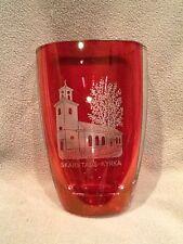 Skarstads-Kyrka Church Orrefors Crystal Vase Cranberry Etched - Vintage USA