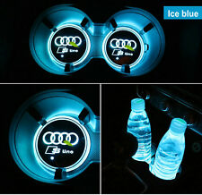 Sline Logo Lamp Badge LED Car Cup Holder Mat Pad Atmosphere Light For All Audi
