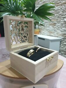 Rustic Ring Box, Wedding Ring Box, Custom Square Ring Bearer Box with cushion