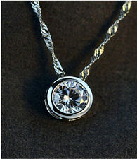 925 Silver AAA Round Zircon Pendant Necklace Women Lady Fashion Jewelry Gift