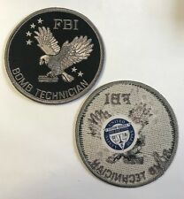 DOJ FBI Bomb Technician Black Gray Ordinance Disposal Cloth Patch