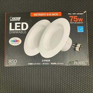 LOTS of 2 SET Feit Electric LED Dimmable 75W Retrofit 5-6 Inch Flood 850 Lumens