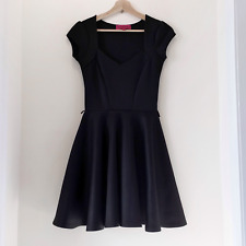 Black Summer Evening Party Short Sleeve Skater Mini dress Size UK 8