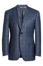 New Men's Canali Siena Soft Classic Fit Plaid Wool Sport Coat, Size 40RUS - Blue