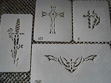 Airbrush Temporary Tattoo Stencil Set 8 Crosses New by Island Tribal!