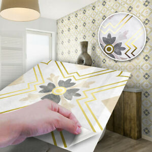 10pcs Gold Floral Marble Self-adhesive Bathroom Kitchen Wall Stair Tile Sticker
