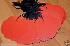 Lot 200 Large Ornate Crimson Red Merchandise Price Tags With String Strung