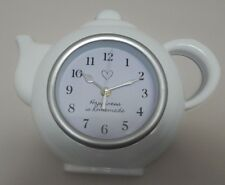 WHITE TEAPOT KITCHEN WALL CLOCK