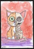 GUS FINK Art outsider goth lowbrow EMI BOZ surreal weird SKELETON CAT HALFSIE