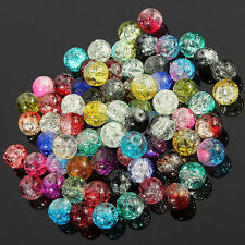 Lots 100Pcs 4MM  Mixed Crystal Glass Rack Round Loose Spacer Beads DIY