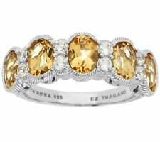 Judith Ripka Sterling 2.90Ct Golden Beryl & Diamonique Band Ring Size 5 Qvc $300